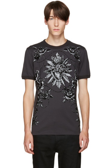 Dolce & Gabbana - Grey Rose T-Shirt