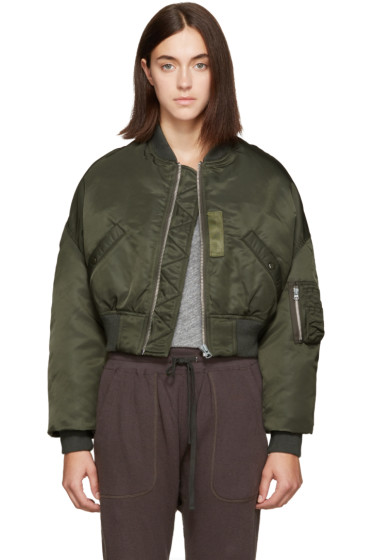 R13 - Green Cropped Flight Bomber Jacket
