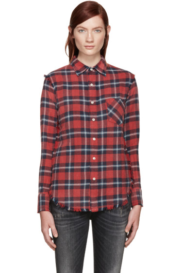 R13 - Red Plaid Inside Out Slim Boy Shirt