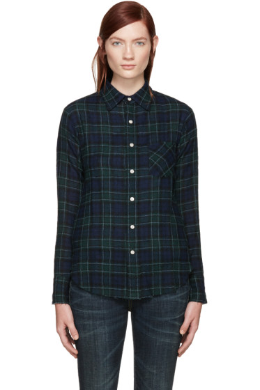 R13 - Navy Plaid Slim Boy Raw Shirt