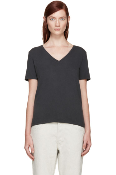 R13 - Black Low V-Neck T-Shirt