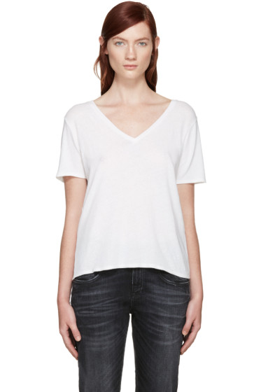 R13 - White Low V-Neck T-Shirt
