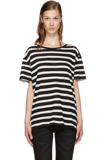 R13 - Black & Ecru Striped Boy T-Shirt