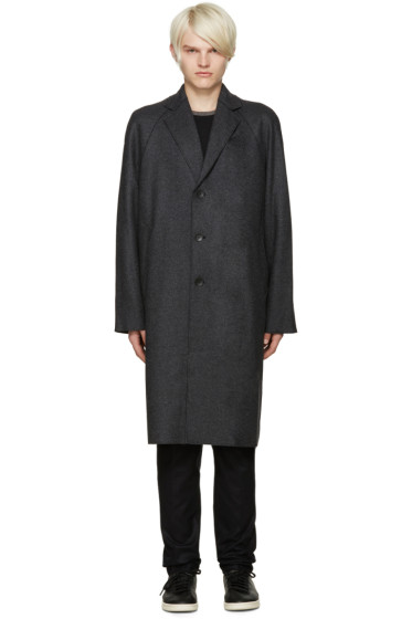 Rag & Bone - Grey Wool Raw Edge Raymond Coat
