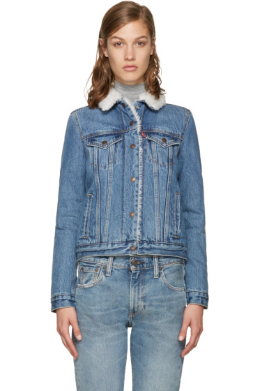 Levi's - Blue Authentic Sherpa Denim Trucker Jacket
