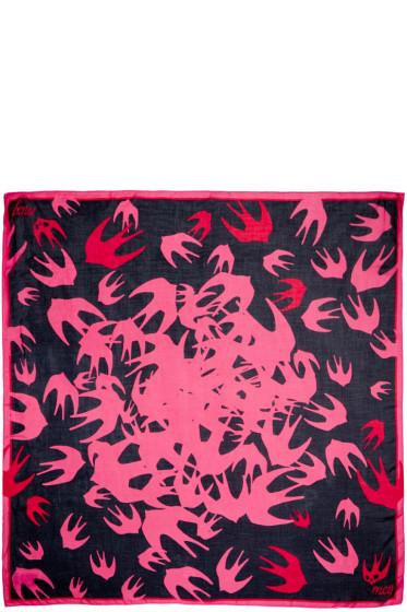 McQ Alexander Mcqueen - Black & Pink Swallow Swarm Scarf