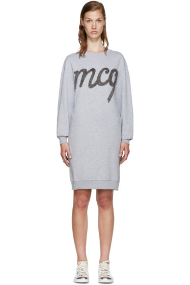 McQ Alexander Mcqueen - Grey Logo Pullover Dress