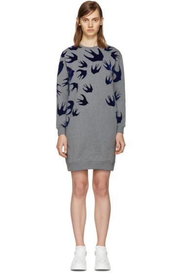 McQ Alexander Mcqueen - Grey Swallows Pullover Dress