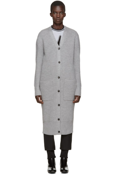 McQ Alexander Mcqueen - Grey Long Knit Cardigan