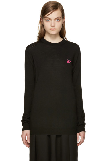 McQ Alexander Mcqueen - Black Embroidered Swallow Sweater