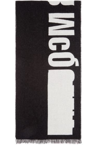 McQ Alexander Mcqueen - Black & Off-White Knit Logo Scarf