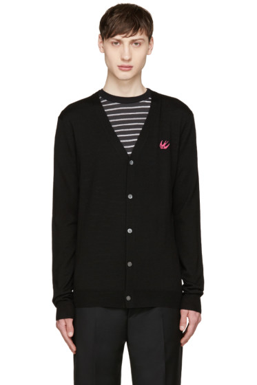 McQ Alexander Mcqueen - Black Wool Embroidered Cardigan