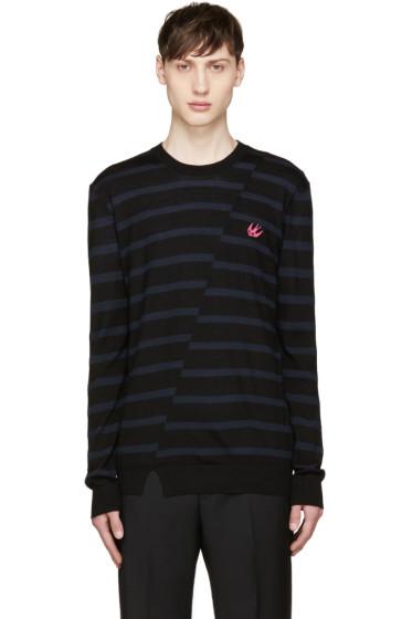 McQ Alexander Mcqueen - Black & Blue Distort Striped Sweater