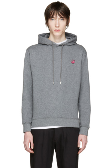 McQ Alexander Mcqueen - Grey Embroidered Hoodie