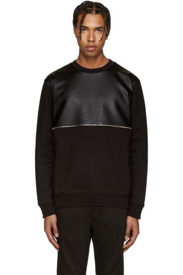 McQ Alexander Mcqueen - Black Leather Zip Pullover