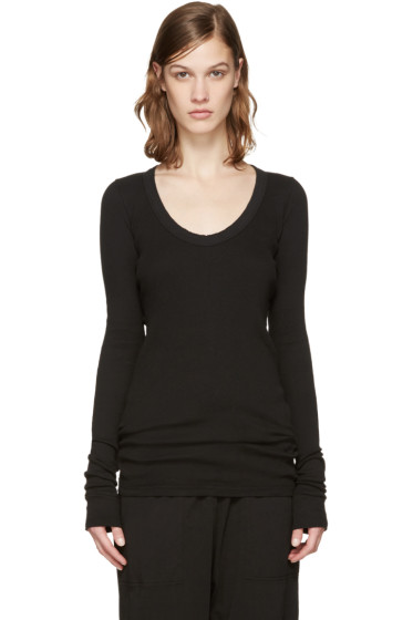 Rick Owens Drkshdw - Black Ribbed T-Shirt