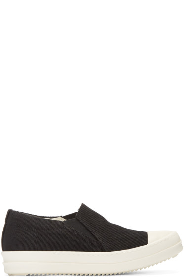 Rick Owens Drkshdw - Black Canvas Boat Slip-On Sneakers