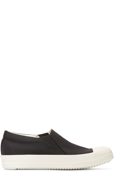 Rick Owens Drkshdw - Black Nylon Boat Slip-On Sneakers