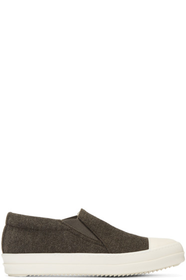 Rick Owens Drkshdw - Brown Boat Slip-On Sneakers