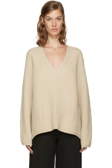 Acne Studios - Beige V-Neck Deborah Sweater