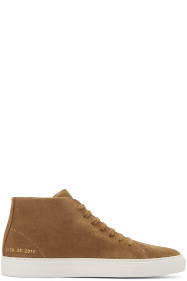 Common Projects - Brown Suede New Court Mid-Top Sneakers