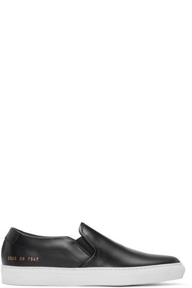 Common Projects - Black Leather Slip-On Sneakers