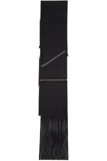 Y-3 - Black Wool Zippered Scarf