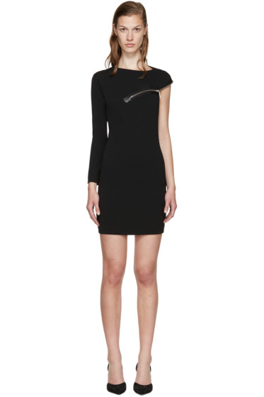 Dsquared2 - Black Wool Jersey Zip Dress