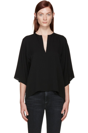 Helmut Lang - Black Silk Georgette Blouse