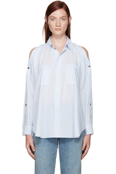 Helmut Lang - Blue Cotton Lawn Cut-Out Shirt