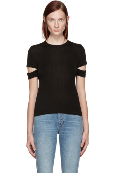 Helmut Lang - Black Baby Rib Slash T-Shirt