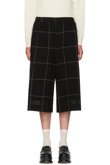 YMC - Black Wool Check Culottes