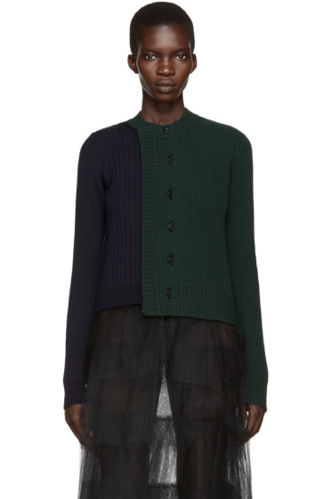 Maison Margiela - Green & Navy Wool Cardigan