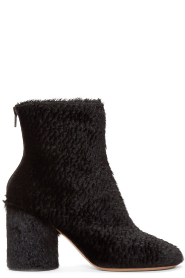 Maison Margiela - Black Embossed Calf-Hair Boots