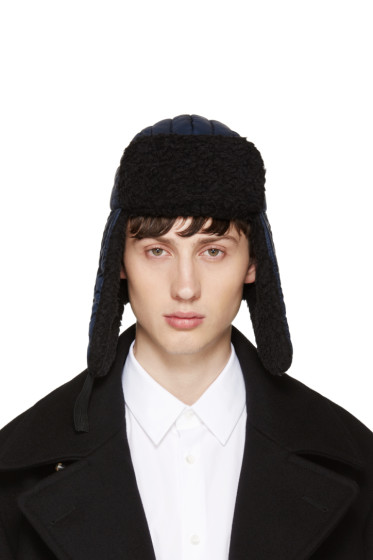 Maison Margiela - Navy Nylon & Wool Aviator Hat