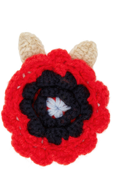 Christopher Kane - Red Crocheted Flower Brooch