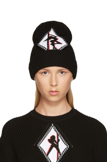Alexander Wang - Black Ribbed Graphic Beanie