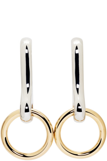 Alexander Wang - Gold & Silver Hook Clip Earrings