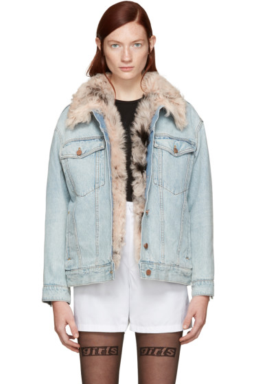 Alexander Wang - Blue Denim Shearling Boyfit Jacket