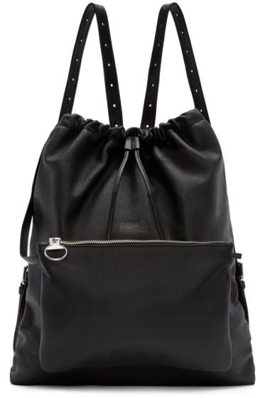 MM6 Maison Margiela - Black Leather Drawstring Backpack