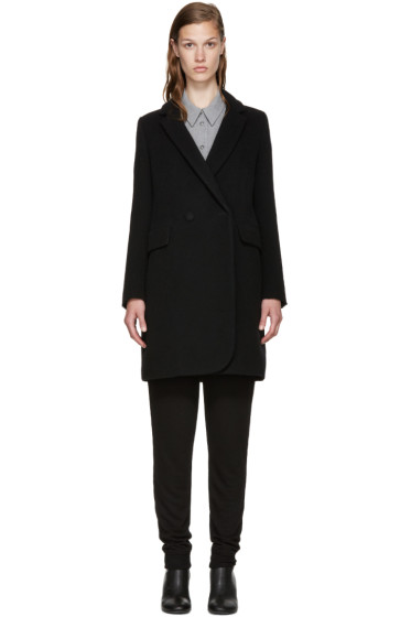 MM6 Maison Margiela - Black Wool Double-Breasted Coat