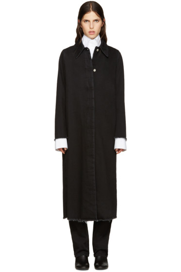 MM6 Maison Margiela - Black Long Denim Coat