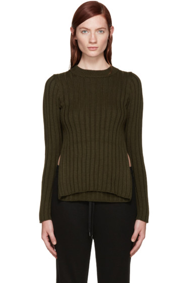 MM6 Maison Margiela - Green Ribbed Cut-Out Sweater