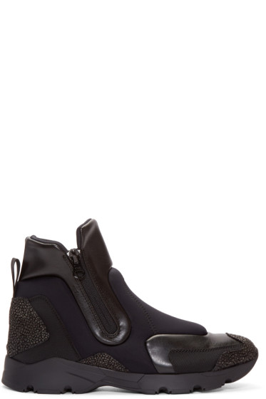 MM6 Maison Margiela - Black Panelled High-Top Sneakers
