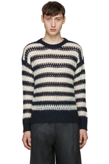 Marc Jacobs - Navy Striped Crochet Sweater