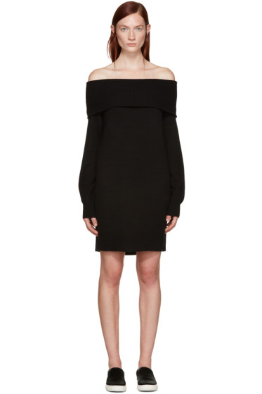 T by Alexander Wang - Black Wool Off-the-Shoulder Dress