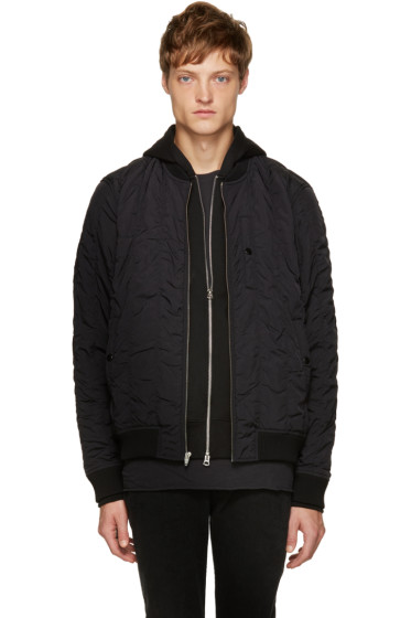 T by Alexander Wang - Black Quilted Bomber Jacket