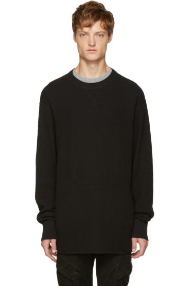 T by Alexander Wang - Black Waffle Knit T-Shirt