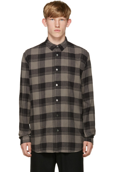 Robert Geller - Grey Plaid Dress Shirt