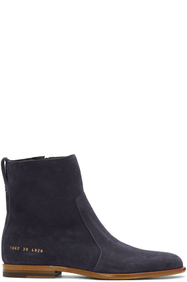 Robert Geller - Navy Common Projects Edition Suede Boots